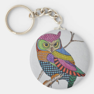 Screech Owl bold color Basic Round Button Key Ring