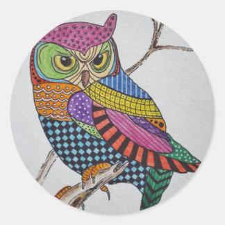 Screech Owl bold color Round Sticker