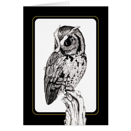 Screech Owl Card in ink