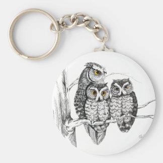 Screech Owl Family Keychain