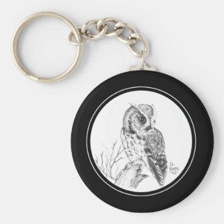 Screech Owl Keychain in pencil