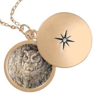 Screech Owl Round Locket Necklace