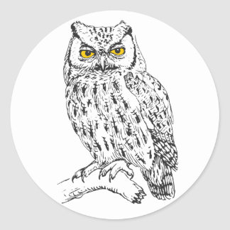 Screech Owl Round Sticker