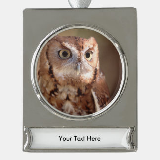 screech owl silver plated banner ornament