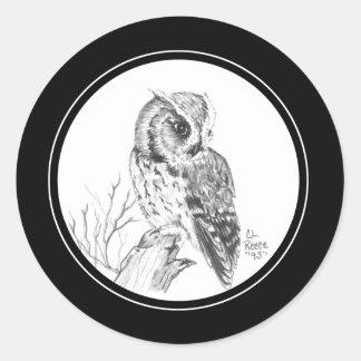 Screech Owl Sticker in pencil