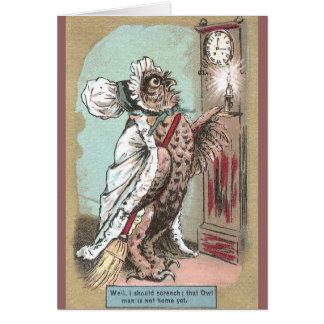 Screech Owl Waits for Late Hubby Greeting Card