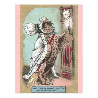 Screech Owl Waits for Late Hubby Postcard