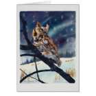 Screech Owl Winter Night Card