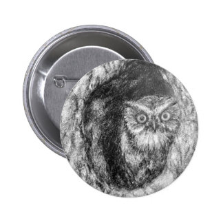 Screech Owls Owl Charcoal Black & White Drawing Buttons