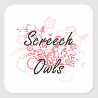 Screech Owls with flowers background Square Sticker