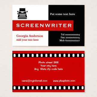 Screenwriter black, white, red eye-catching business card
