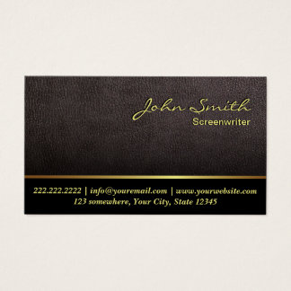Screenwriter Elegant Dark Leather Business Card