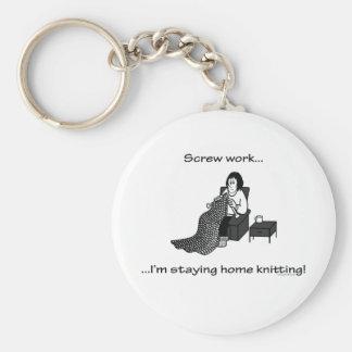 Screw Work, I'm Staying Home Knitting Basic Round Button Key Ring