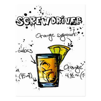Screwdriver Cocktail Recipe Postcard