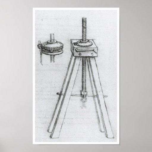 Screwjack, Invention by Leonardo da Vinci Poster