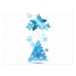 Scribble Christmas Tree with stars balloons Postcard