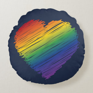 Scribble heart round pillow