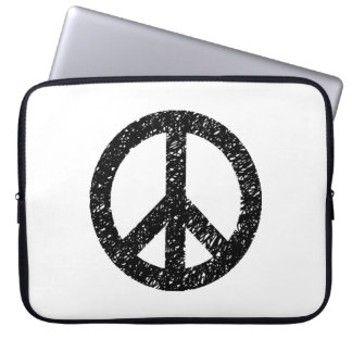 Scribble Stencilled Peace Symbol Laptop Computer Sleeve