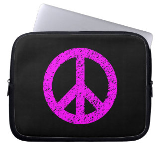 Scribble Stencilled Peace Symbol - Magenta on Blk Laptop Computer Sleeves