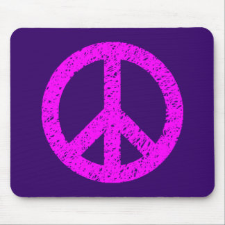 Scribble Stencilled Peace Symbol - Magenta on Purp Mouse Pad