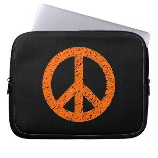Scribble Stencilled Peace Symbol - Orange on Blk Laptop Sleeve