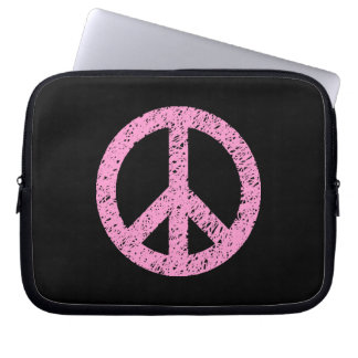 Scribble Stencilled Peace Symbol - Pink on Blk Laptop Computer Sleeve