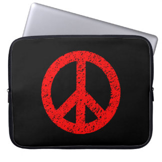Scribble Stencilled Peace Symbol - Red on Black Laptop Sleeves