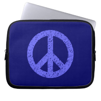 Scribble Stencilled Peace Symbol - Shades of Blue Computer Sleeve