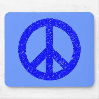 Scribble Stencilled Peace Symbol - Shades of Blue Mouse Pad