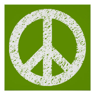 Scribble Stencilled Peace Symbol - White on Avocad Poster