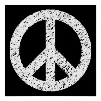 Scribble Stencilled Peace Symbol - White on Black Poster