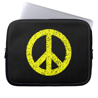 Scribble Stencilled Peace Symbol - Yellow on Black Computer Sleeve