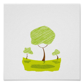scribble tree landscape yellow eco design.png posters