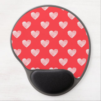 Scribbled hearts gel mouse pad