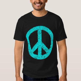 Scribbled Peace Symbol - Cyan T-shirt