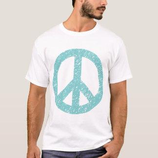 Scribbled Peace Symbol - Lt Blue Green T-Shirt