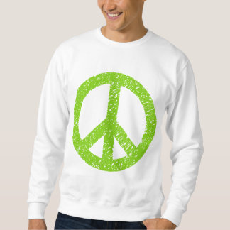Scribbled Peace Symbol - Martian Green Pullover Sweatshirts