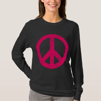 Scribbled Peace Symbol - Neon Red T-Shirt