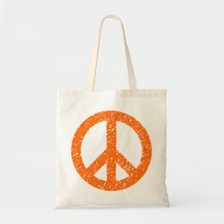 Scribbled Peace Symbol - Orange Canvas Bags