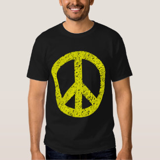 Scribbled Peace Symbol - Yellow Tees