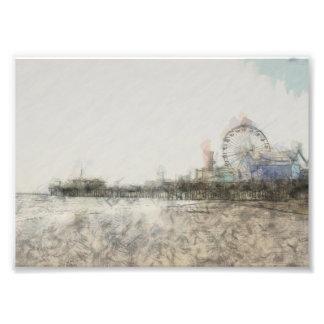 Scribbled Santa Monica Pier Photograph