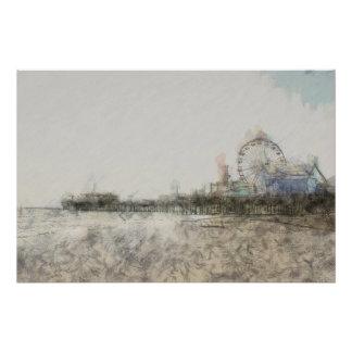 Scribbled Santa Monica Pier Poster