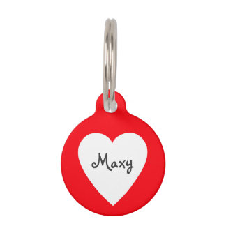 Scribbleprint Heart Name Pet ID Tag