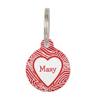 Scribbleprint Heart Name Pet Tags