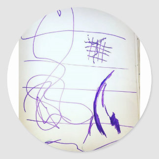 Scribbles Graphs Ideas and Freedom Classic Round Sticker