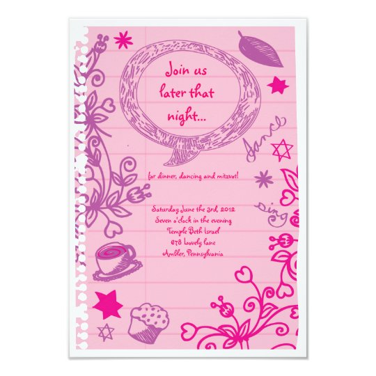 SCRIBBLES on NOTEPAPER Bat Bat Mitzvah Party Card