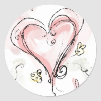 Scribbly Pink Heart Classic Round Sticker