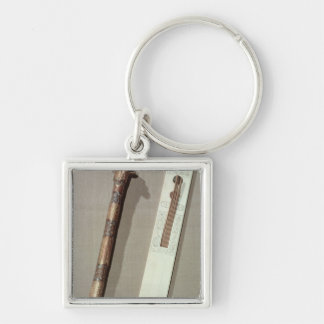 Scribe's palette and a case for writing reeds Silver-Colored square key ring