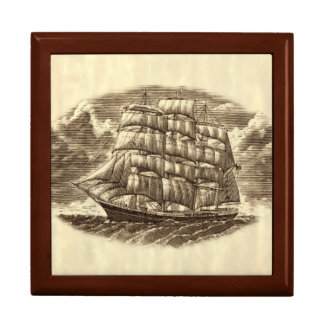 Scrimshaw Sailing Ship Trinket Box