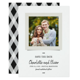 Script And Typewriter Photo Save the Date Card